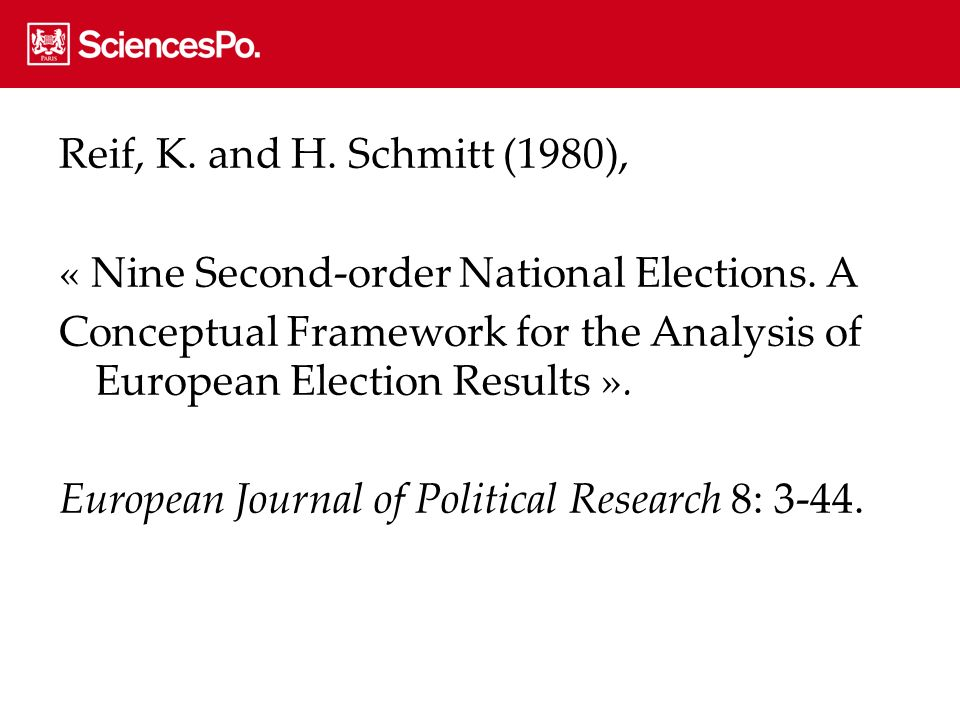 Reif, K. and H. Schmitt (1980), « Nine Second-order National Elections. A Conceptual Framework for the Analysis of European Election Results ». Europe