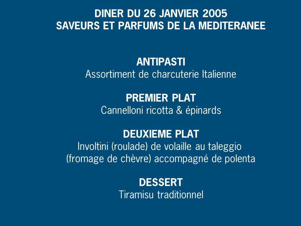 DINER DU 26 JANVIER 2005 SAVEURS ET PARFUMS DE LA MEDITERANEE ANTIPASTI Assortiment de charcuterie Italienne PREMIER PLAT Cannelloni ricotta & épinard