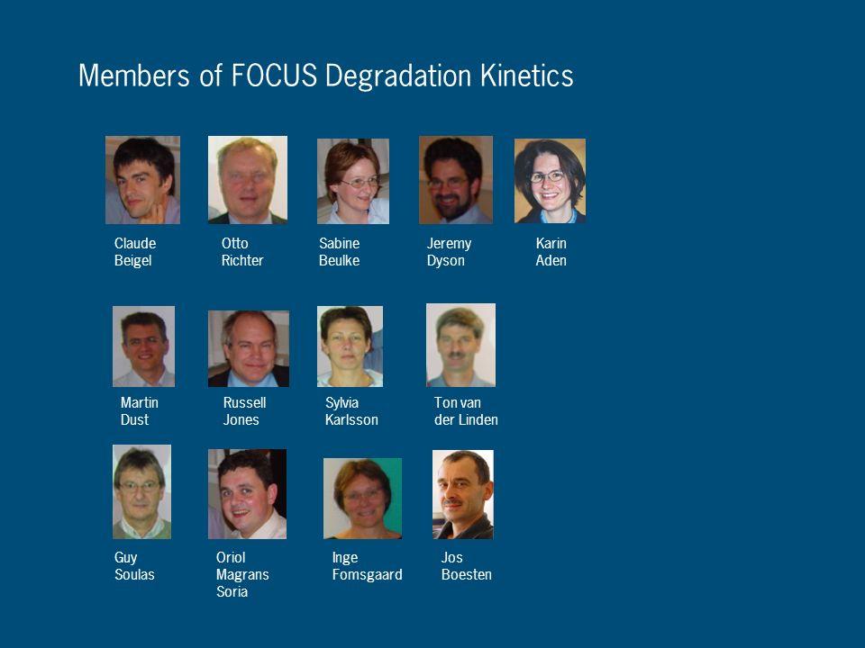 Members of FOCUS Degradation Kinetics Claude Beigel Otto Richter Sabine Beulke Jeremy Dyson Martin Dust Russell Jones Sylvia Karlsson Ton van der Lind