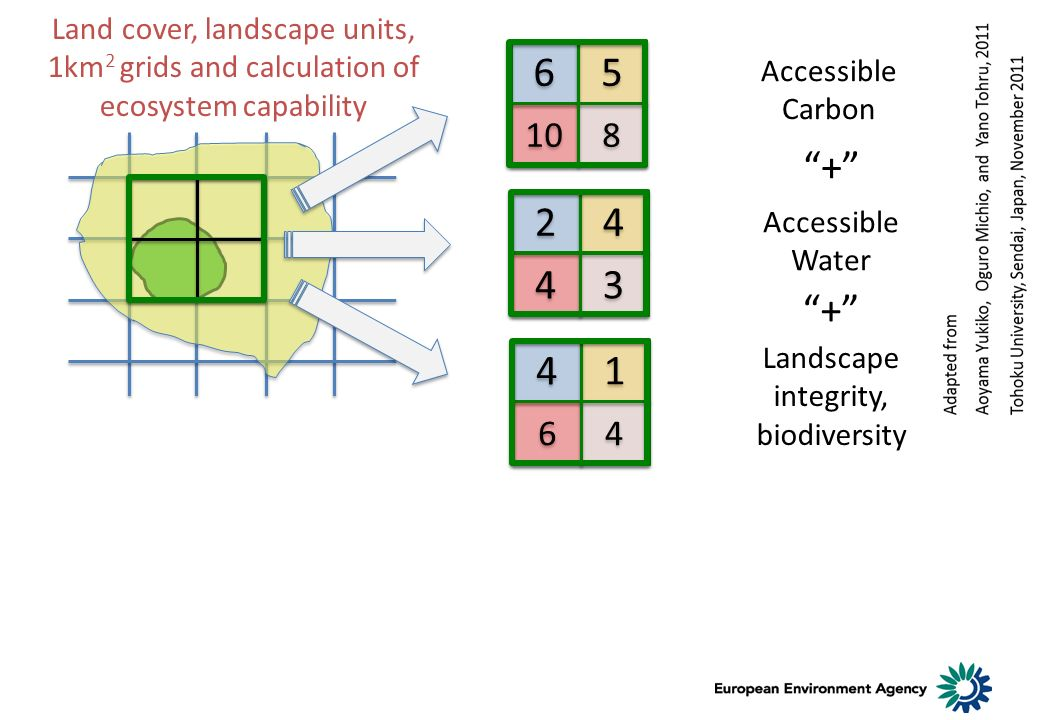 Land cover, landscape units, 1km 2 grids and calculation of ecosystem capability 4 4 1 1 6 6 4 4 2 2 4 4 4 4 3 3 6 6 5 5 10 8 8 Accessible Carbon Accessible Water Landscape integrity, biodiversity + +