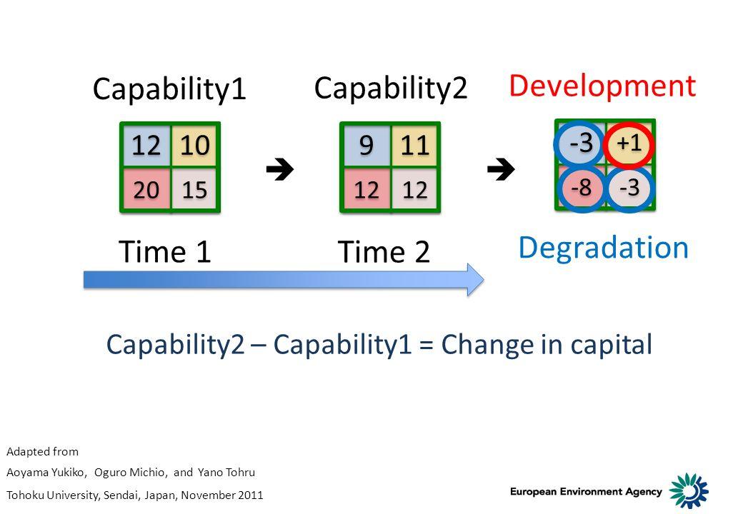 -3 +1 -3 -8 Capability2 – Capability1 = Change in capital Time 1 Time 2 Capability1 Capability2 Development Degradation 12 10 20 15 9 9 11 12 Adapted from Aoyama Yukiko, Oguro Michio, and Yano Tohru Tohoku University, Sendai, Japan, November 2011