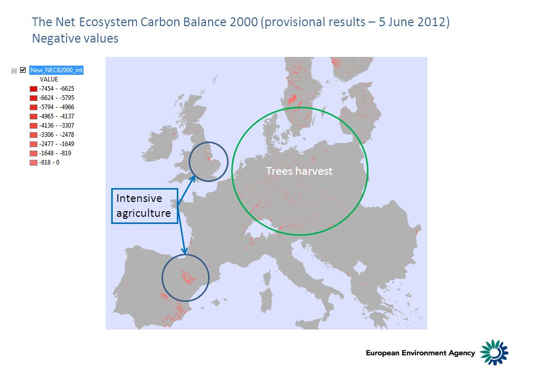 The Net Ecosystem Carbon Balance 2000 (provisional results – 5 June 2012) Negative values Trees harvest Intensive agriculture