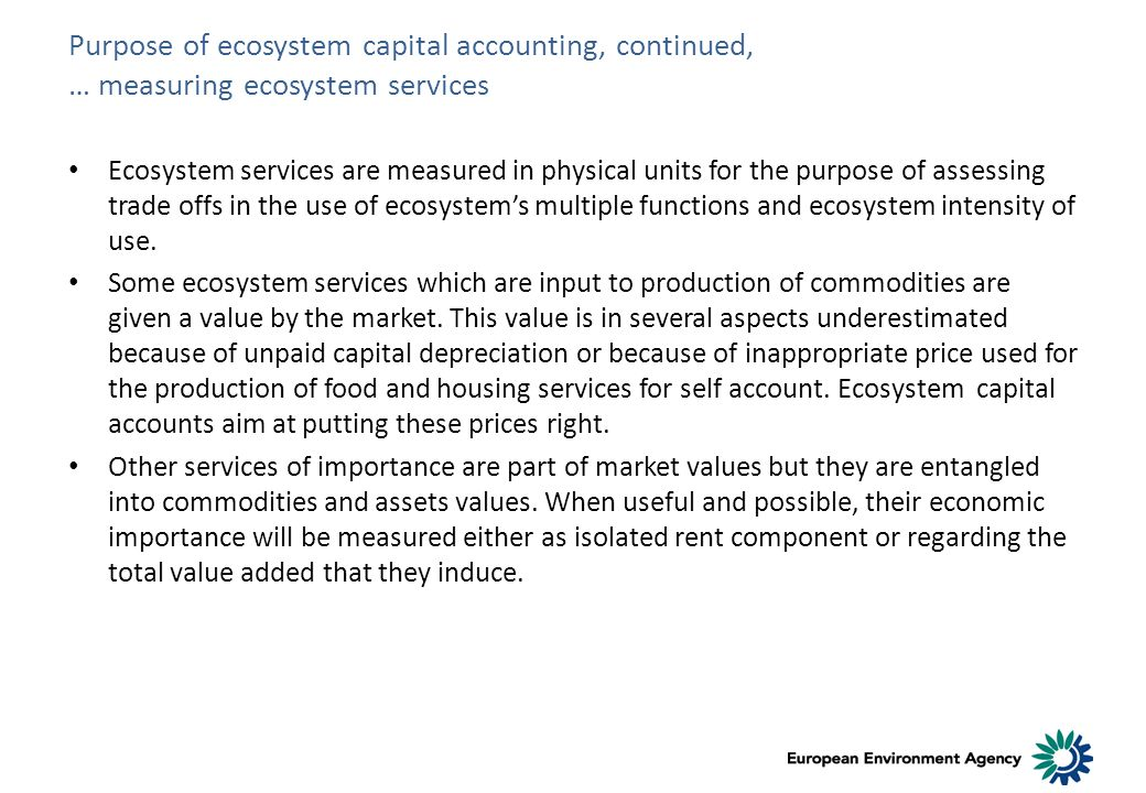 Purpose of ecosystem capital accounting, continued, … measuring ecosystem services Ecosystem services are measured in physical units for the purpose of assessing trade offs in the use of ecosystems multiple functions and ecosystem intensity of use.