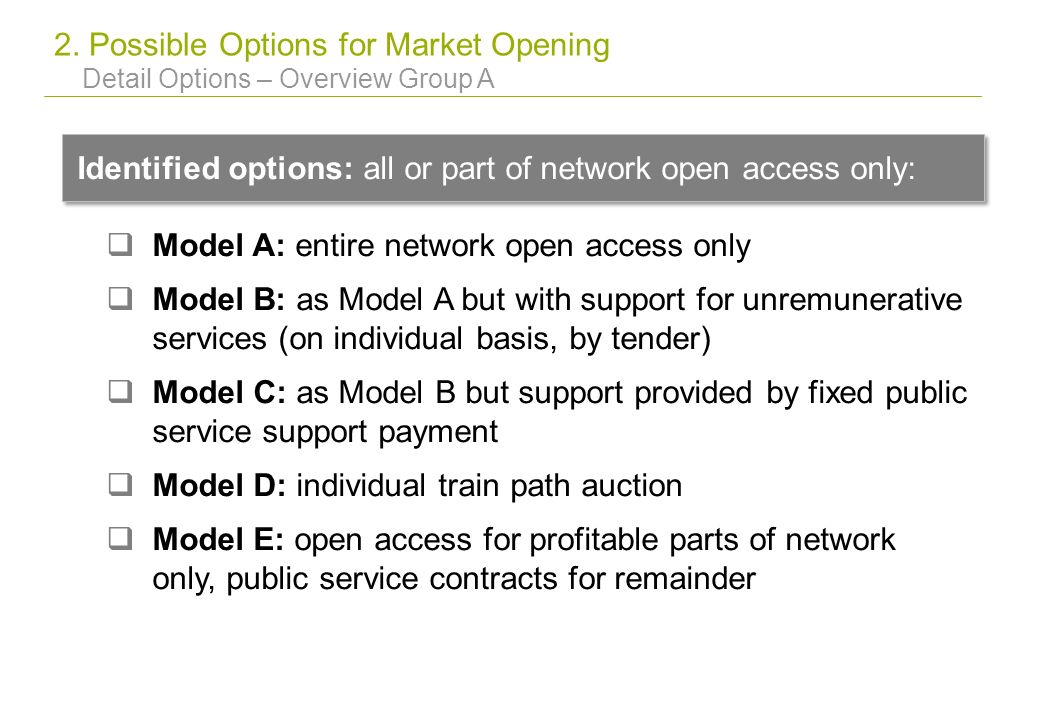 2. Possible Options for Market Opening Detail Options – Overview Group A Identified options: all or part of network open access only: Model A: entire