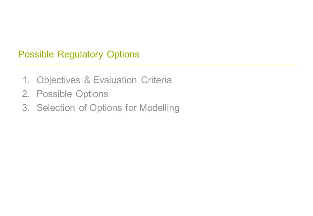 Possible Regulatory Options 1.Objectives & Evaluation Criteria 2.Possible Options 3.Selection of Options for Modelling