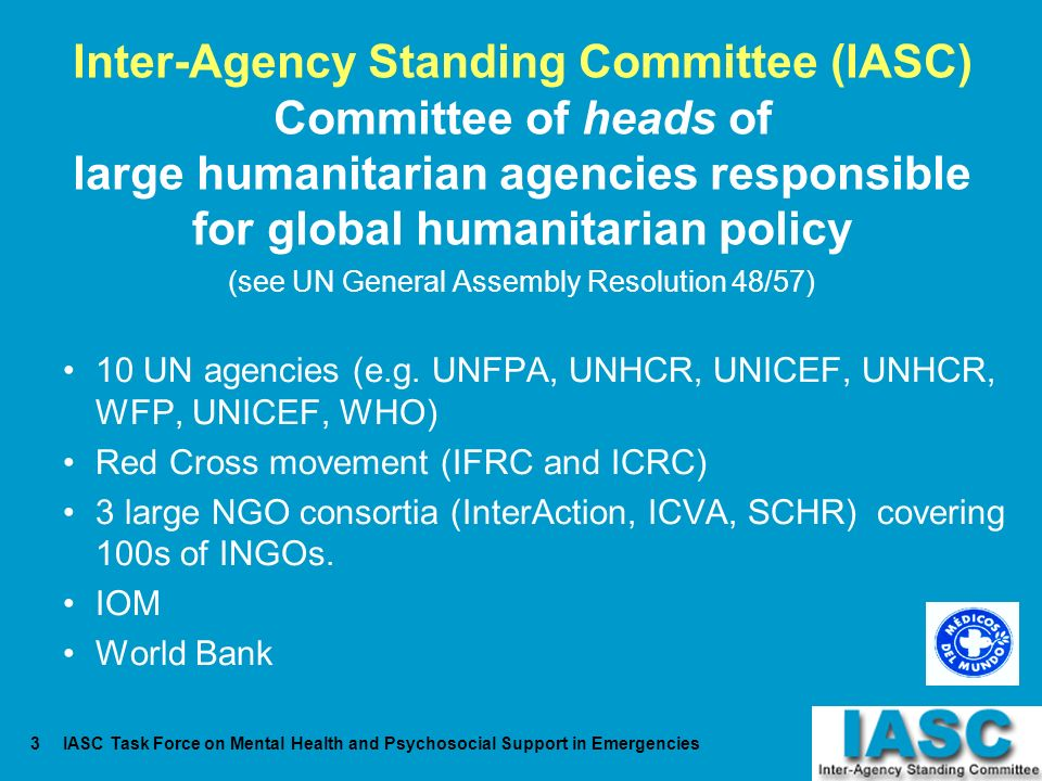 IASC Task Force on Mental Health and Psychosocial Support in Emergencies3 Inter-Agency Standing Committee (IASC) Committee of heads of large humanitar