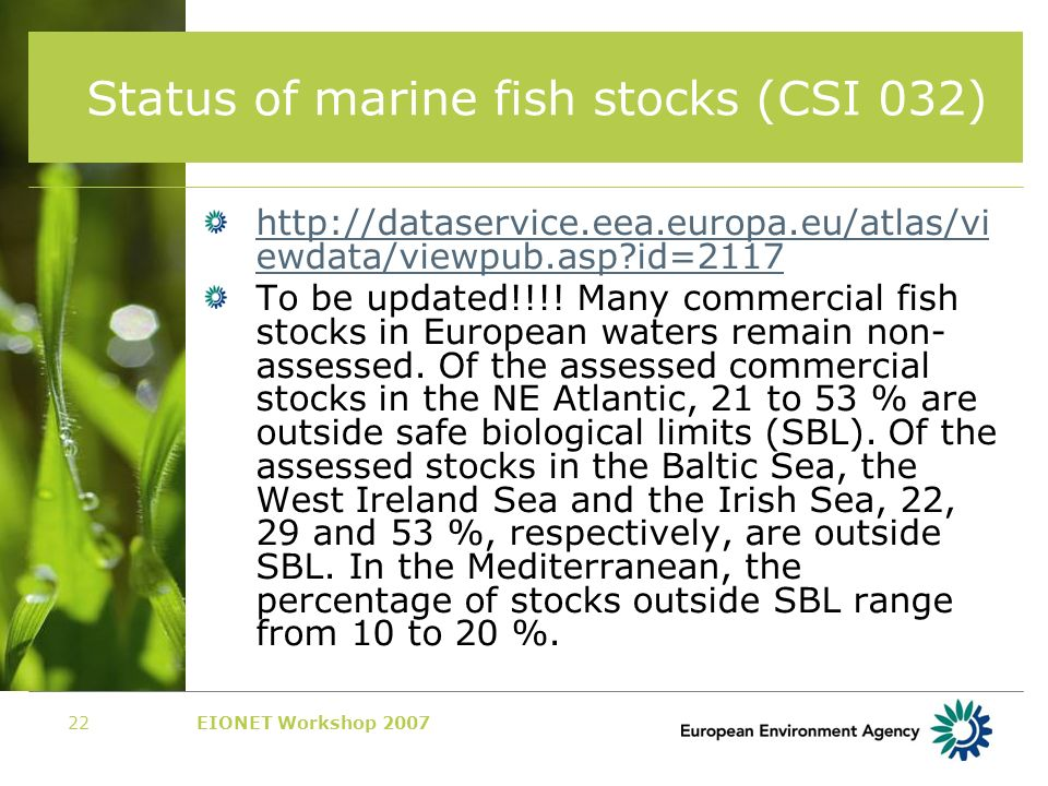 EIONET Workshop 200722 Status of marine fish stocks (CSI 032) http://dataservice.eea.europa.eu/atlas/vi ewdata/viewpub.asp id=2117 To be updated!!!.