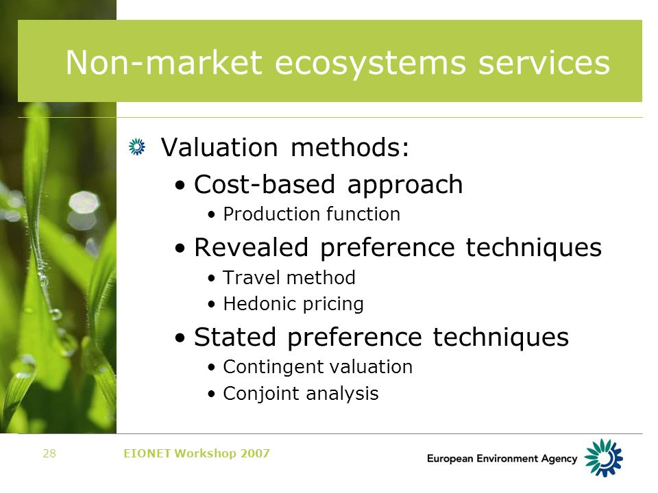 EIONET Workshop 200728 Non-market ecosystems services Valuation methods: Cost-based approach Production function Revealed preference techniques Travel method Hedonic pricing Stated preference techniques Contingent valuation Conjoint analysis