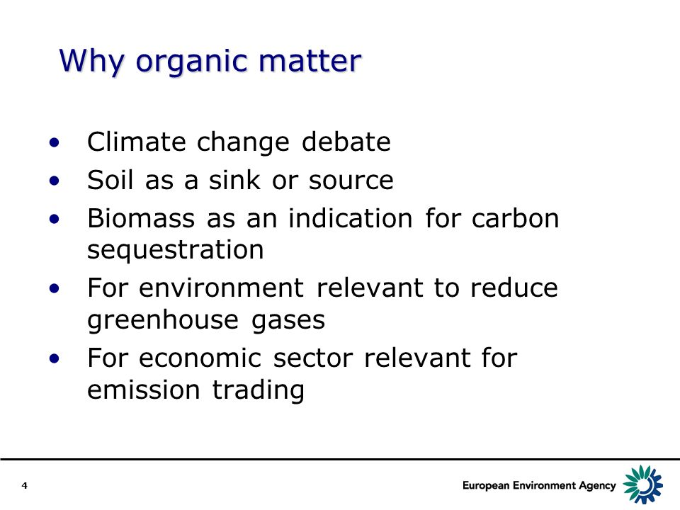 4 Climate change debate Soil as a sink or source Biomass as an indication for carbon sequestration For environment relevant to reduce greenhouse gases For economic sector relevant for emission trading