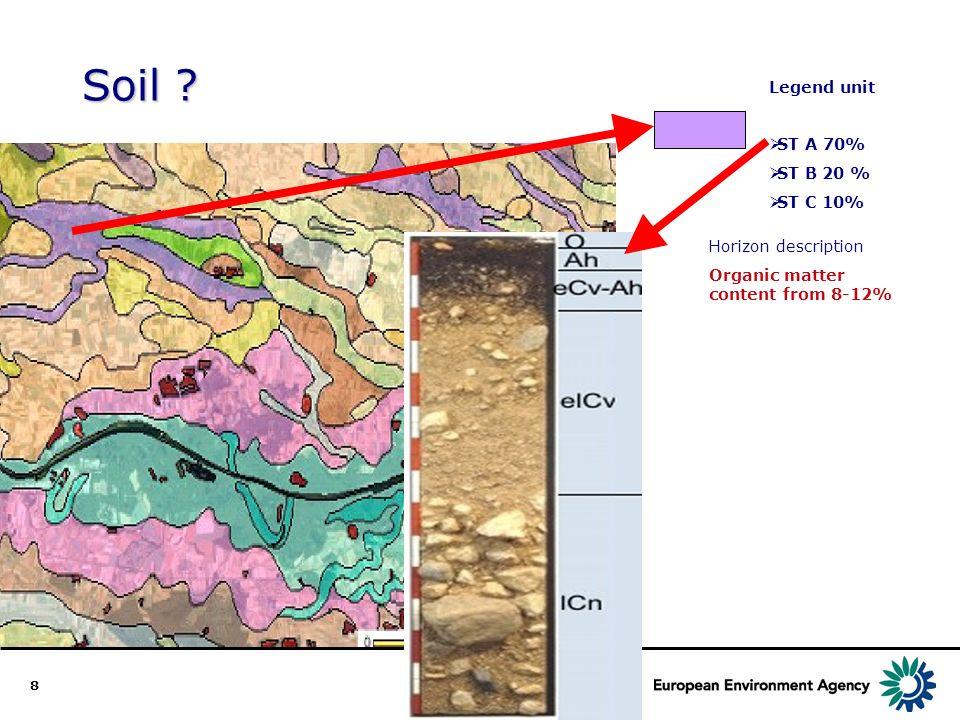 8 Soil ? Legend unit ST A 70% ST B 20 % ST C 10% Horizon description Organic matter content from 8-12%