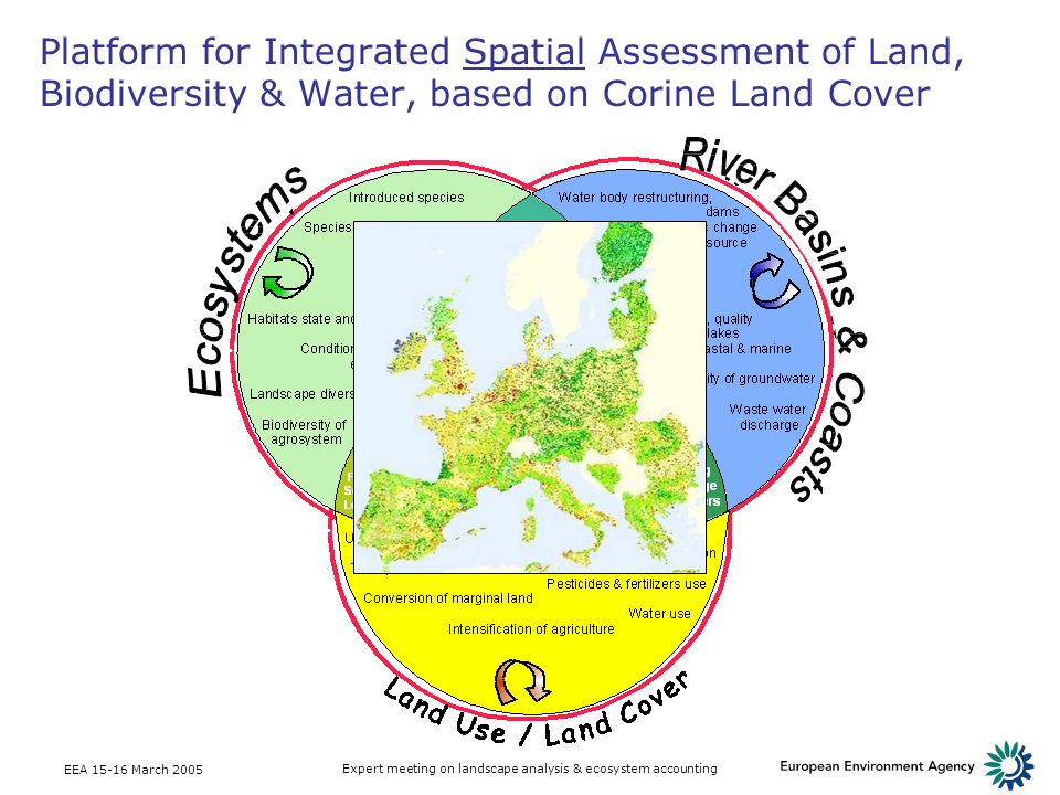 EEA March 2005 Expert meeting on landscape analysis & ecosystem accounting Platform for Integrated Spatial Assessment of Land, Biodiversity & Water, based on Corine Land Cover