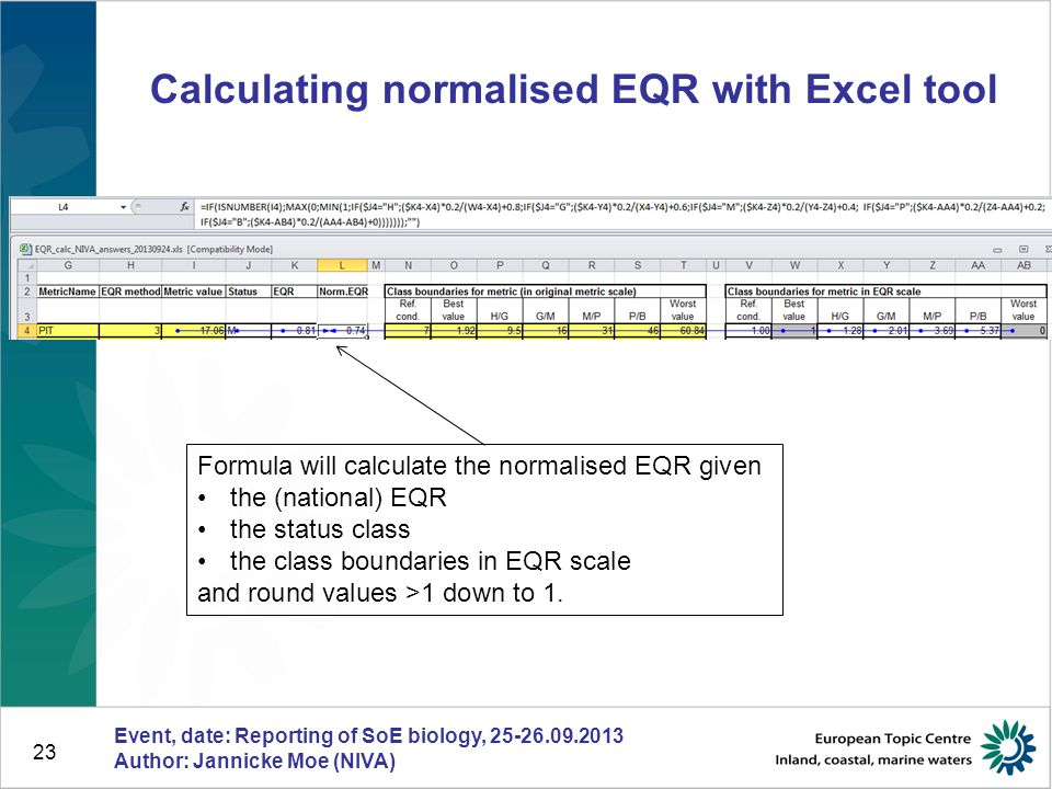 23 Calculating normalised EQR with Excel tool Event, date: Reporting of SoE biology, 25-26.09.2013 Author: Jannicke Moe (NIVA) Formula will calculate
