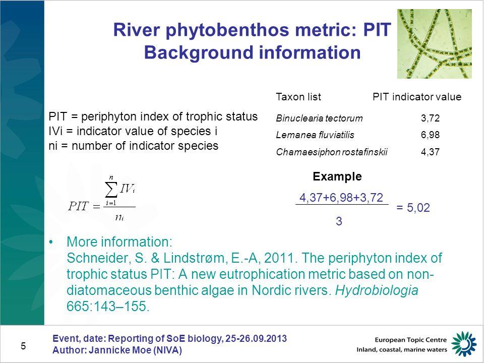 5 Taxon listPIT indicator value Binuclearia tectorum 3,72 Lemanea fluviatilis 6,98 Chamaesiphon rostafinskii 4,37 River phytobenthos metric: PIT Background information More information: Schneider, S.