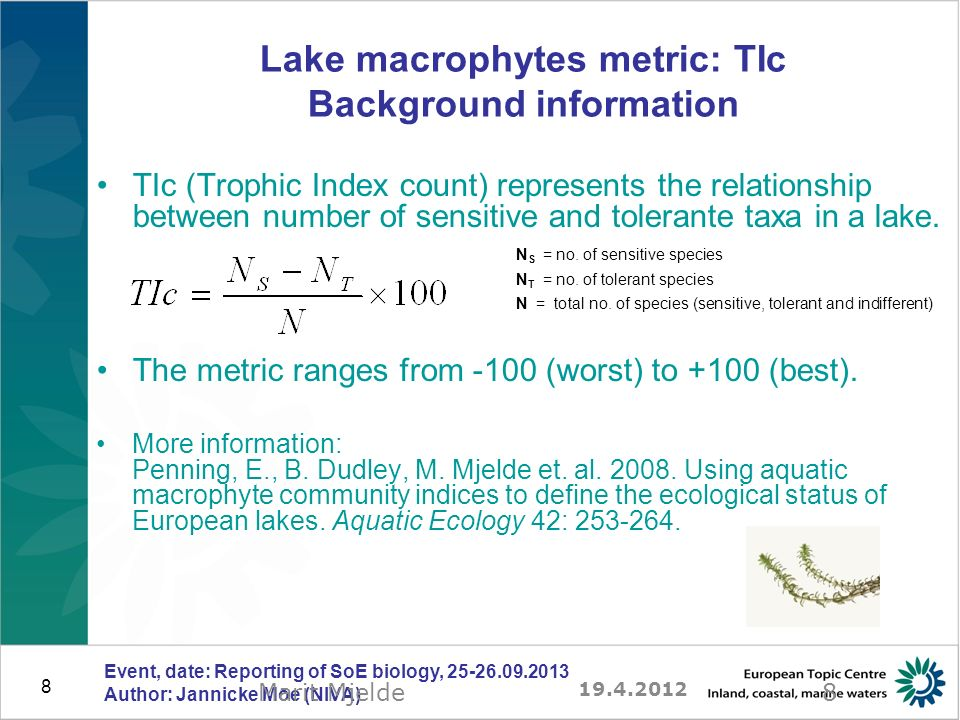 39 Excercises: overview of steps and tools 5)Fill inn EQR values and additional lake metrics in EEA Excel templates –Download rivers.xls, lakes.xls from http://dd.eionet.europa.eu/http://dd.eionet.europa.eu/ –Get data from files NO_Phytobenthos_Rivers_2011.xls, Prespa_Lake_2010.xls, Ohrid_Lake_2011.xls –Fill inn tables of templates: Stations[...], Biology[...], ClassificationSystem[...] 6)Upload filled-in templates to Reportnet –Log in to http://cdrtest.eionet.europa.eu/ as reporter (r)http://cdrtest.eionet.europa.eu/ –Create your own folder under Macedonia or Norway –Upload Excel file 7)Check the automatic feedback –If necessary, correct and re-deliver the Excel files Event, date: Reporting of SoE biology, 25-26.09.2013 Author: Jannicke Moe (NIVA)