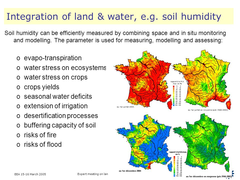 EEA 15-16 March 2005 Expert meeting on landscape analysis & ecosystem accounting Integration of land & water, e.g. soil humidity Soil humidity can be