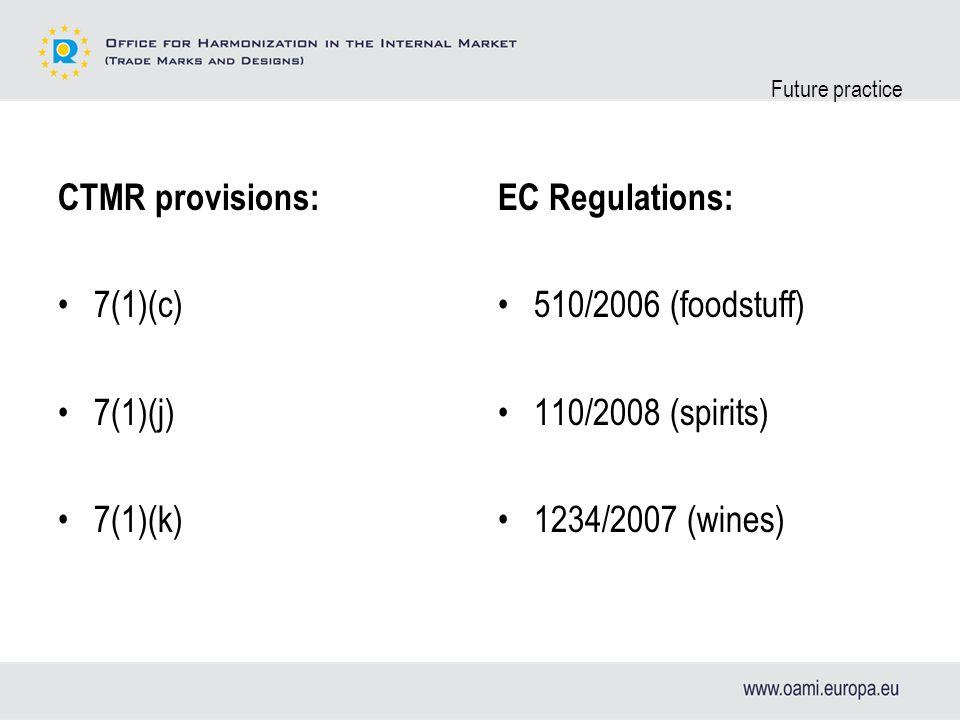 Future practice 7(1)(c) self-contained provision 7(1)(j) no explicit remission 7(1)(k) Regulation 510/2006