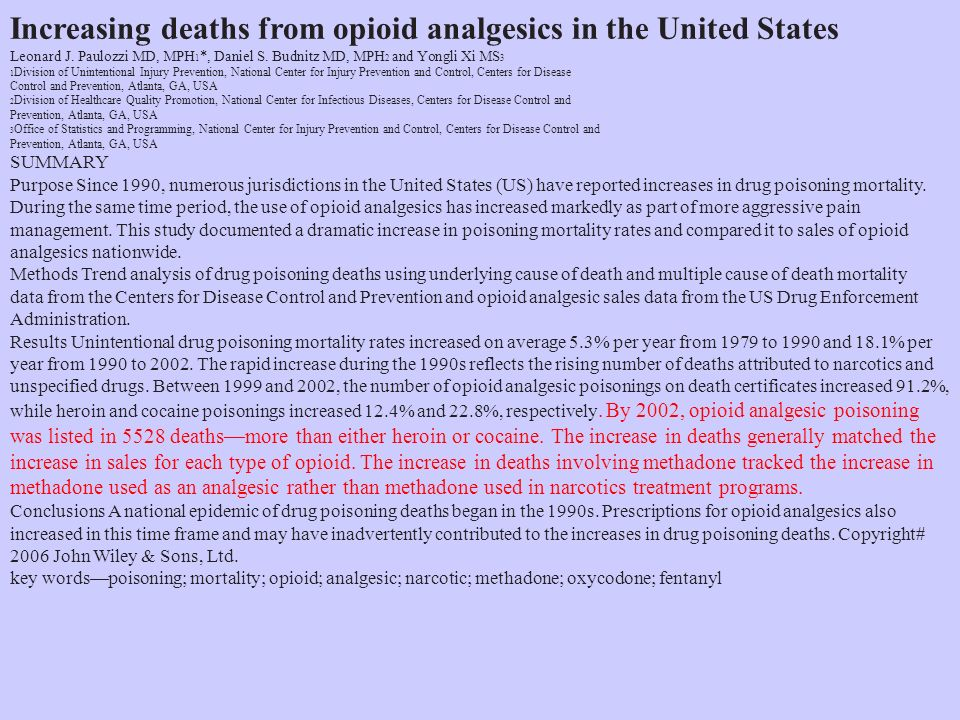 Increasing deaths from opioid analgesics in the United States Leonard J.