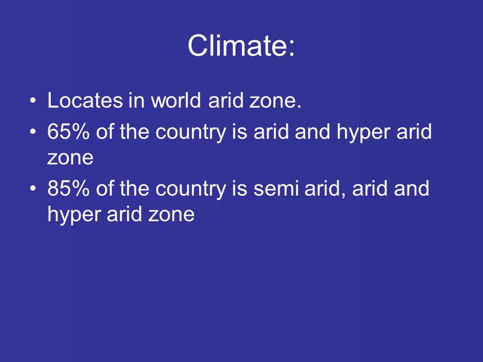 Climate: Locates in world arid zone.