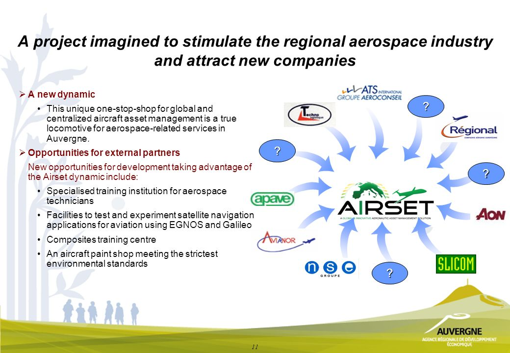 11 A project imagined to stimulate the regional aerospace industry and attract new companies A new dynamic This unique one-stop-shop for global and centralized aircraft asset management is a true locomotive for aerospace-related services in Auvergne.
