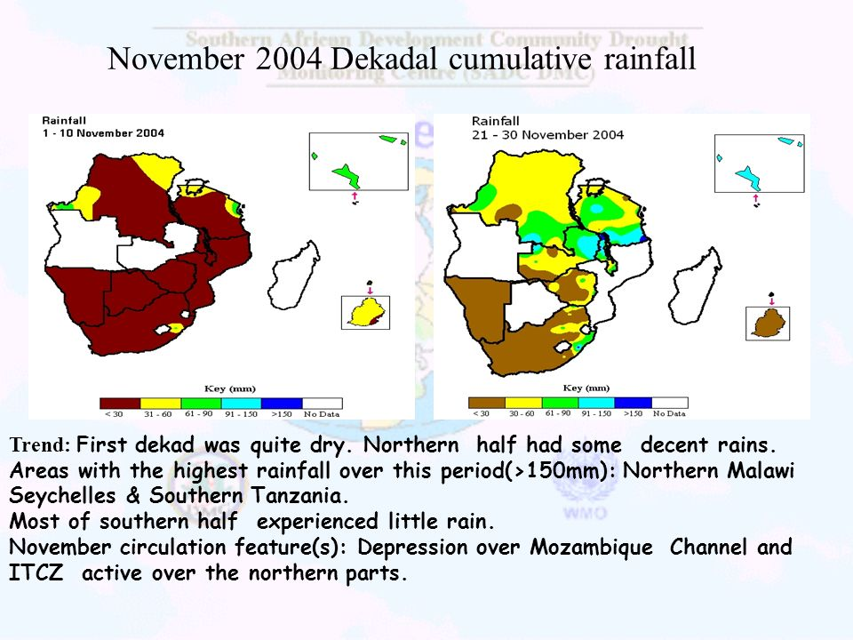 November 2004 Dekadal cumulative rainfall Trend: First dekad was quite dry. Northern half had some decent rains. Areas with the highest rainfall over