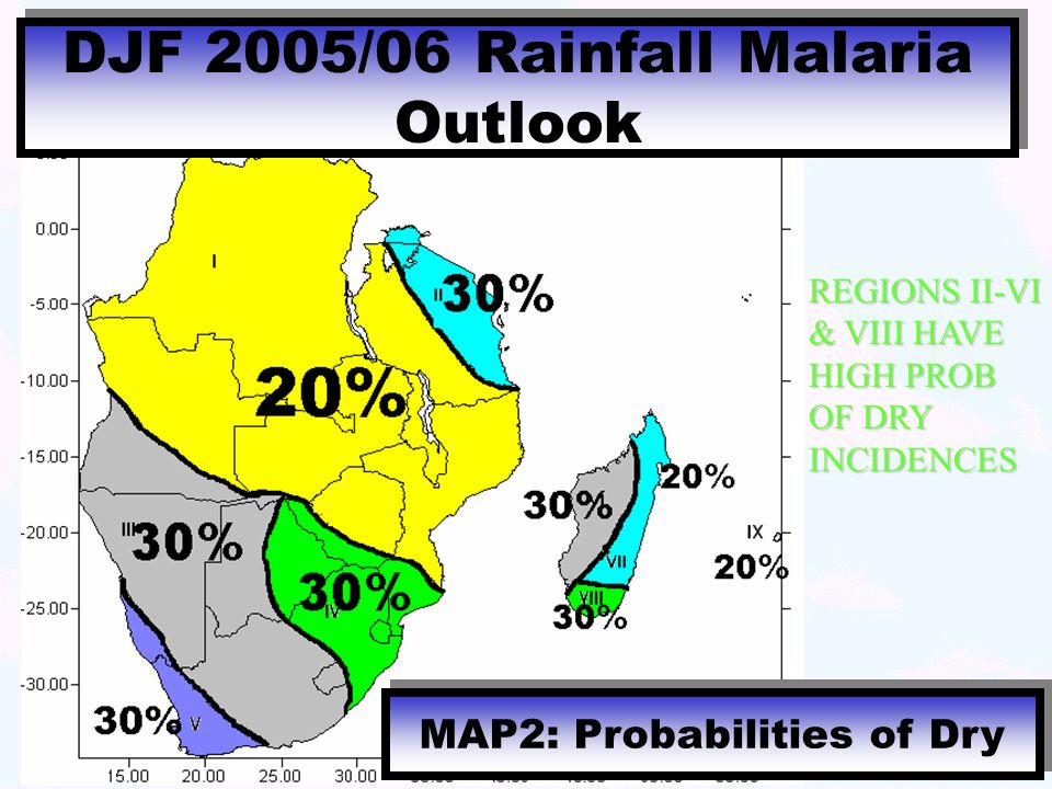 MAP2: Probabilities of Dry DJF 2005/06 Rainfall Malaria Outlook REGIONS II-VI & VIII HAVE HIGH PROB OF DRY INCIDENCES
