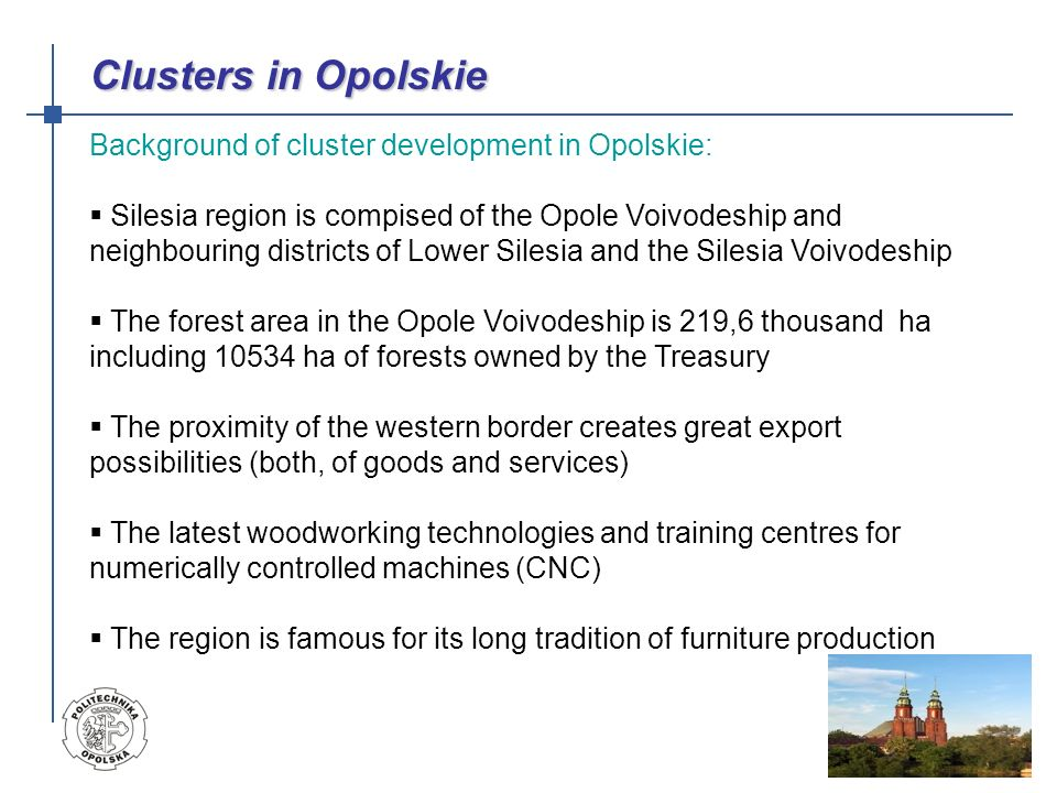 Silesian Carpenter (Stolarz śląski) is the existing cluster in Opolskie voivodship.The cluster formed by the group of 45 enterprises consists of three main circles of cooperation.
