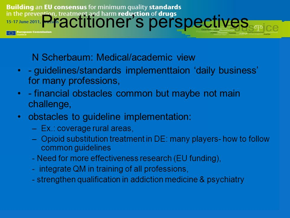 Practitioners perspectives N Scherbaum: Medical/academic view - guidelines/standards implementtaion daily business for many professions, - financial obstacles common but maybe not main challenge, obstacles to guideline implementation: –Ex.: coverage rural areas, –Opioid substitution treatment in DE: many players- how to follow common guidelines - Need for more effectiveness research (EU funding), - integrate QM in training of all professions, - strengthen qualification in addiction medicine & psychiatry