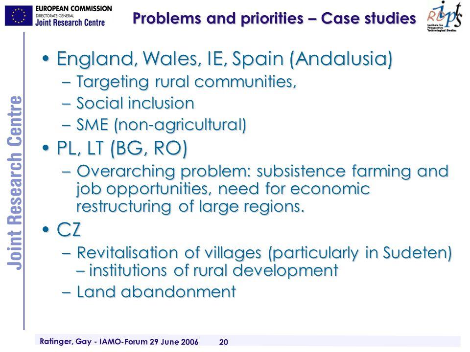 Ratinger, Gay - IAMO-Forum 29 June 2006 20 Problems and priorities – Case studies England, Wales, IE, Spain (Andalusia)England, Wales, IE, Spain (Anda