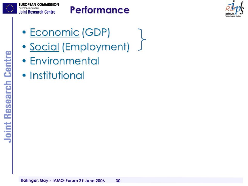 Ratinger, Gay - IAMO-Forum 29 June 2006 30Performance Economic (GDP)Economic (GDP) Social (Employment)Social (Employment) EnvironmentalEnvironmental InstitutionalInstitutional