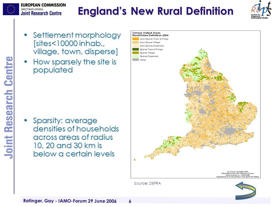 Ratinger, Gay - IAMO-Forum 29 June 2006 6 Englands New Rural Definition Settlement morphology [sites<10000 inhab., village, town, disperse]Settlement