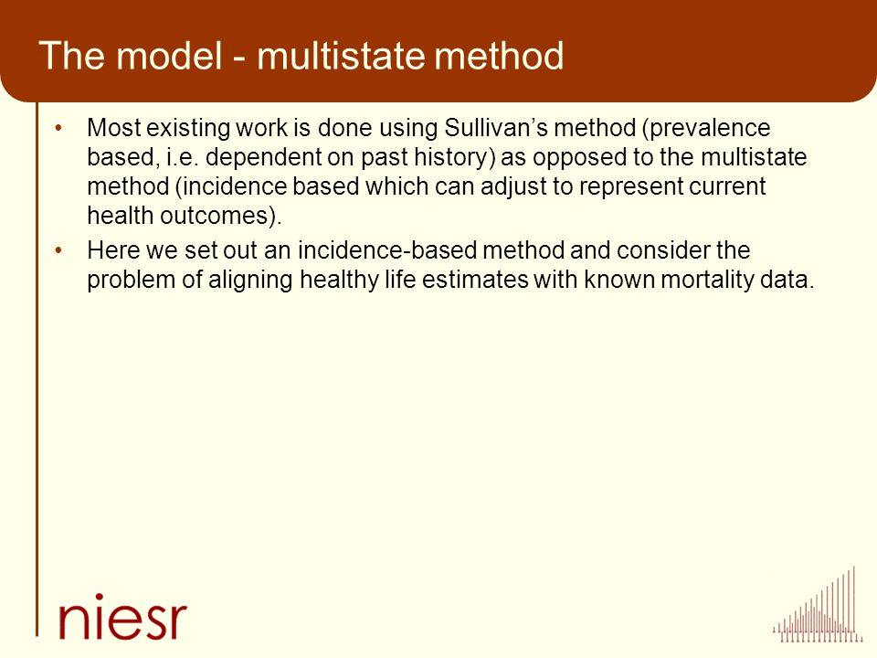 The model - multistate method Most existing work is done using Sullivans method (prevalence based, i.e. dependent on past history) as opposed to the m