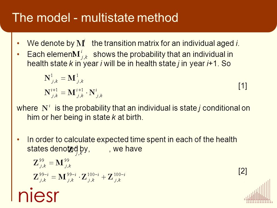 The model - multistate method We denote by the transition matrix for an individual aged i. Each element shows the probability that an individual in he