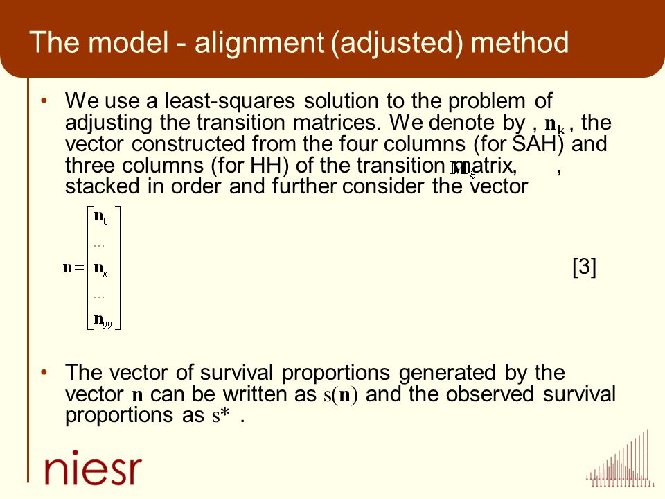 The model - alignment (adjusted) method We use a least-squares solution to the problem of adjusting the transition matrices.