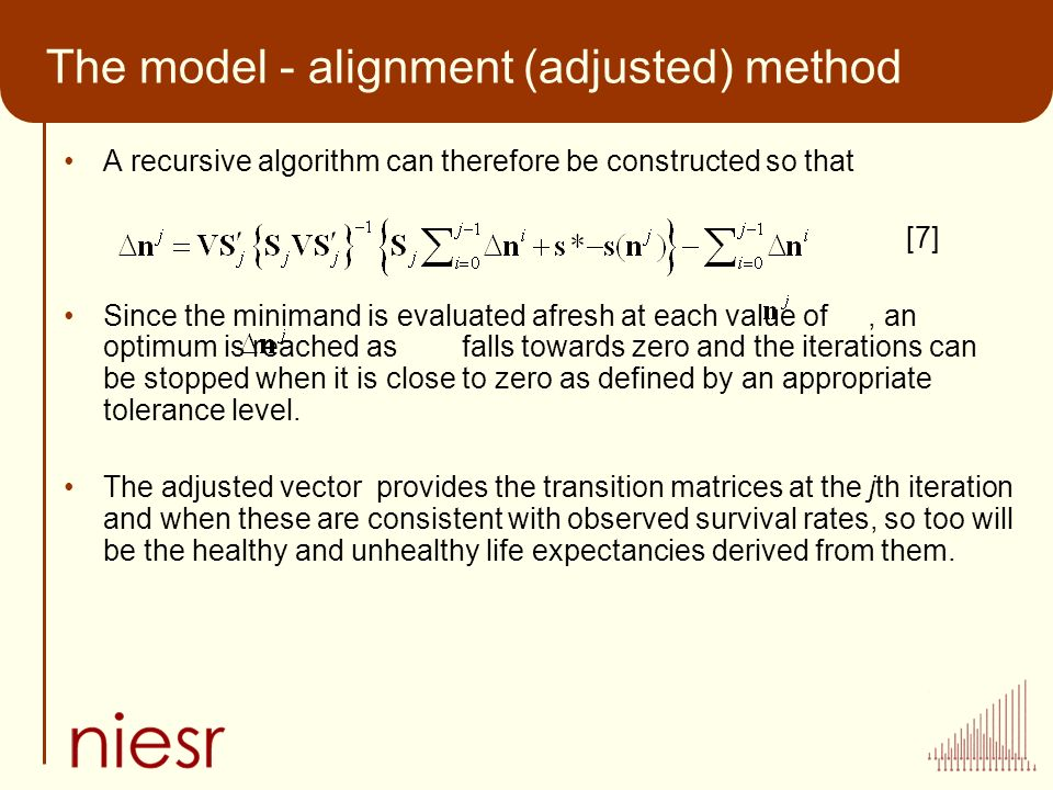 The model - alignment (adjusted) method A recursive algorithm can therefore be constructed so that [7] Since the minimand is evaluated afresh at each value of, an optimum is reached as falls towards zero and the iterations can be stopped when it is close to zero as defined by an appropriate tolerance level.