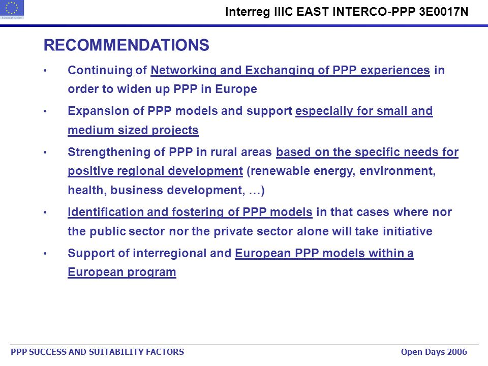 Urban Planning Institute of the Republic of Slovenia www.urbinstitut.si Interreg IIIC EAST INTERCO-PPP 3E0017N PPP SUCCESS AND SUITABILITY FACTORS Ope