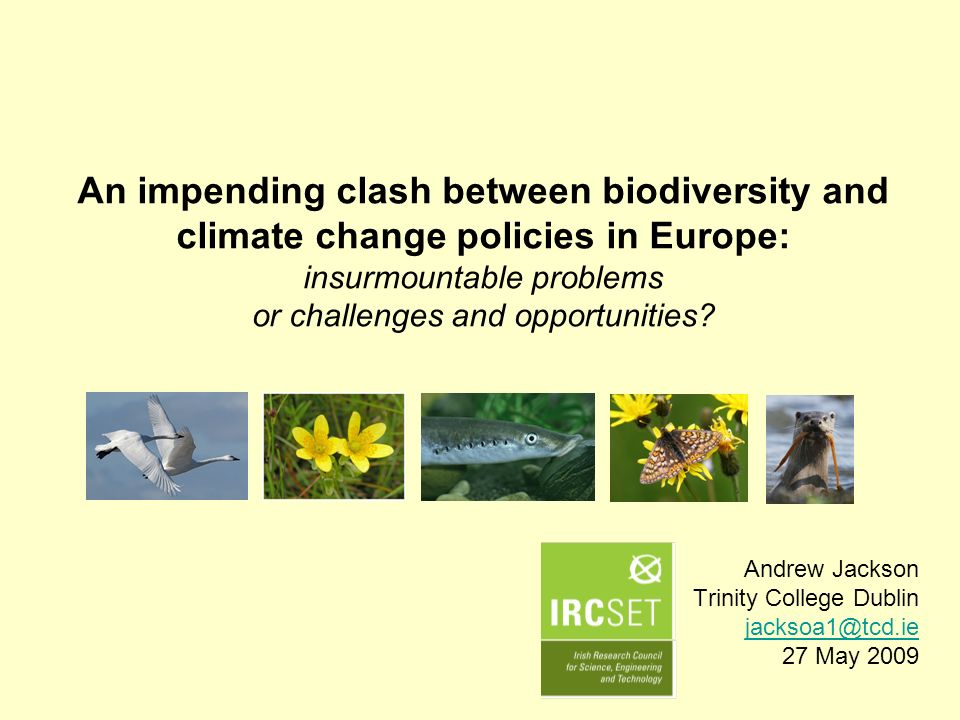 An impending clash between biodiversity and climate change policies in Europe: insurmountable problems or challenges and opportunities? Andrew Jackson