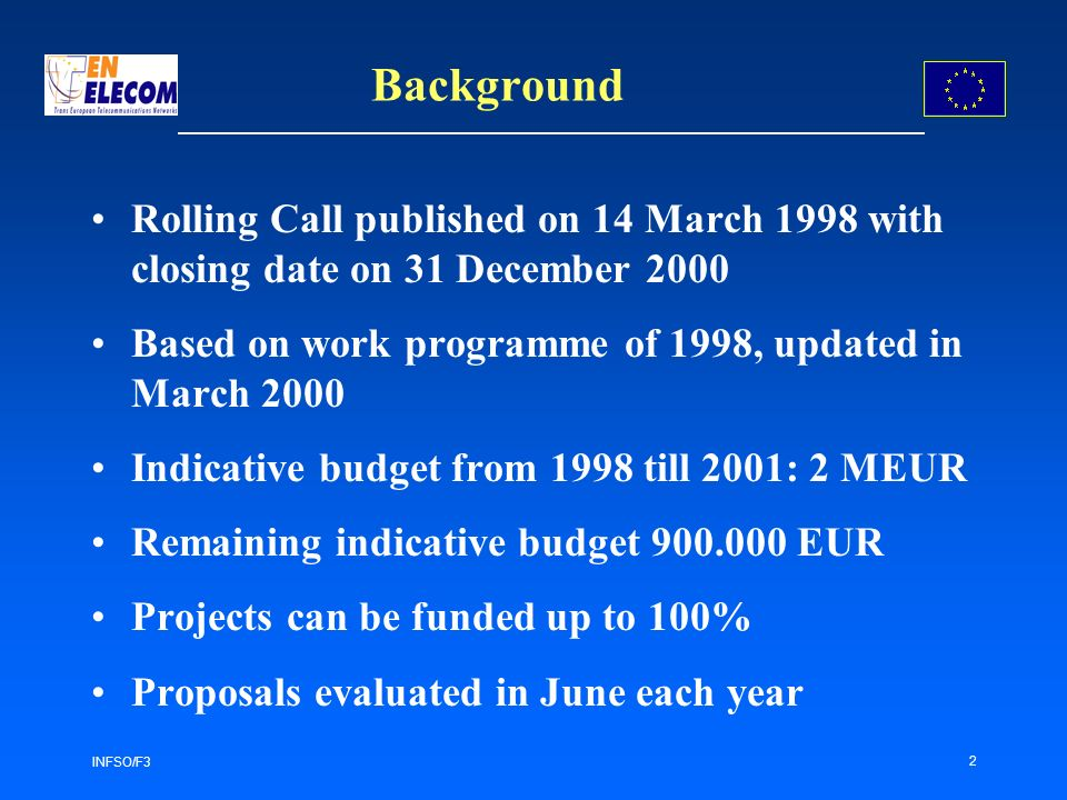 INFSO/F3 2 Background Rolling Call published on 14 March 1998 with closing date on 31 December 2000 Based on work programme of 1998, updated in March 2000 Indicative budget from 1998 till 2001: 2 MEUR Remaining indicative budget 900.000 EUR Projects can be funded up to 100% Proposals evaluated in June each year