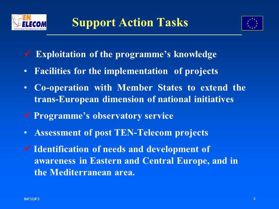 INFSO/F3 3 Support Action Tasks Exploitation of the programmes knowledge Facilities for the implementation of projects Co-operation with Member States to extend the trans-European dimension of national initiatives Programmes observatory service Assessment of post TEN-Telecom projects Identification of needs and development of awareness in Eastern and Central Europe, and in the Mediterranean area.