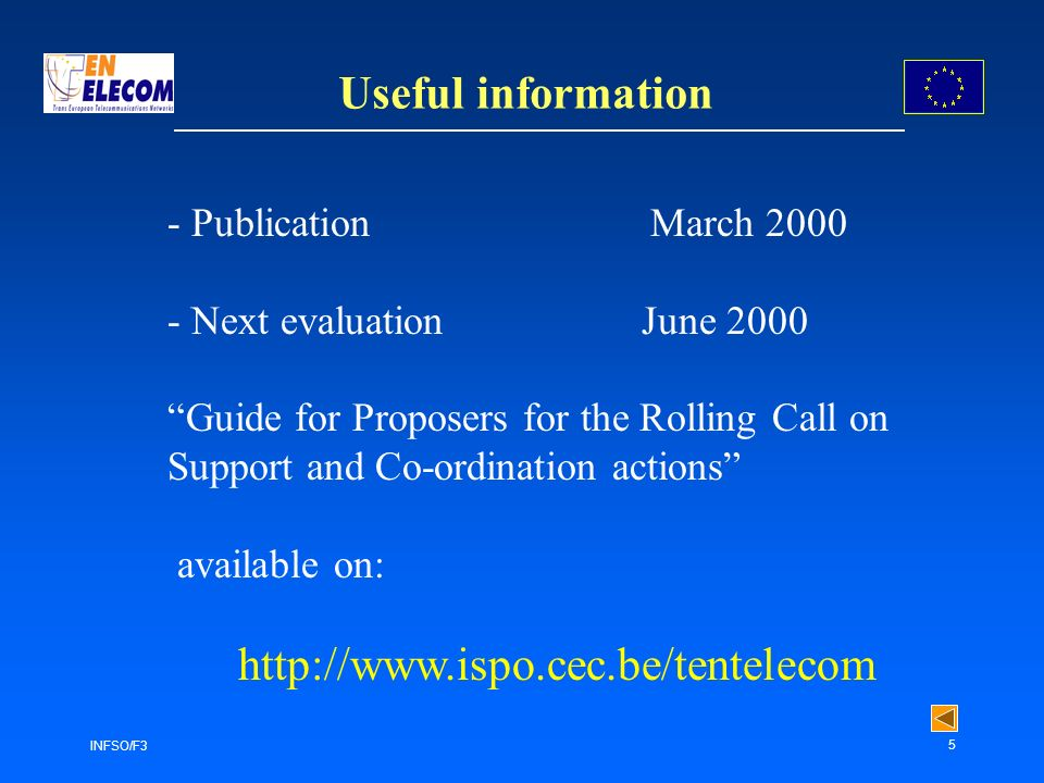 INFSO/F3 5 Useful information - Publication March 2000 - Next evaluation June 2000 Guide for Proposers for the Rolling Call on Support and Co-ordination actions available on: http://www.ispo.cec.be/tentelecom