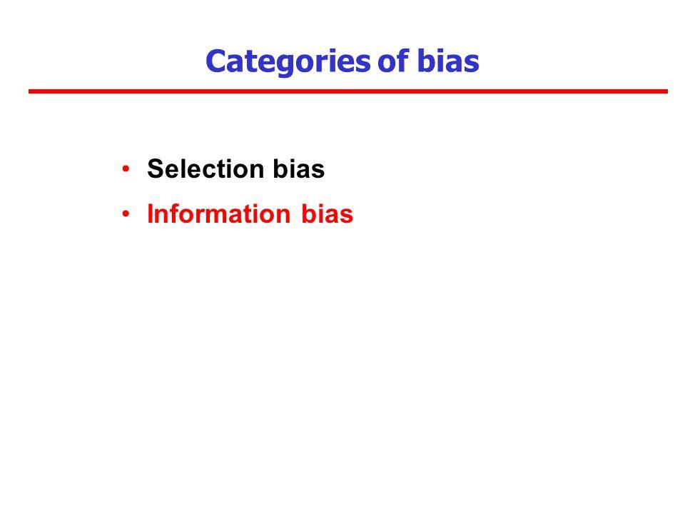 Categories of bias Selection bias Information bias