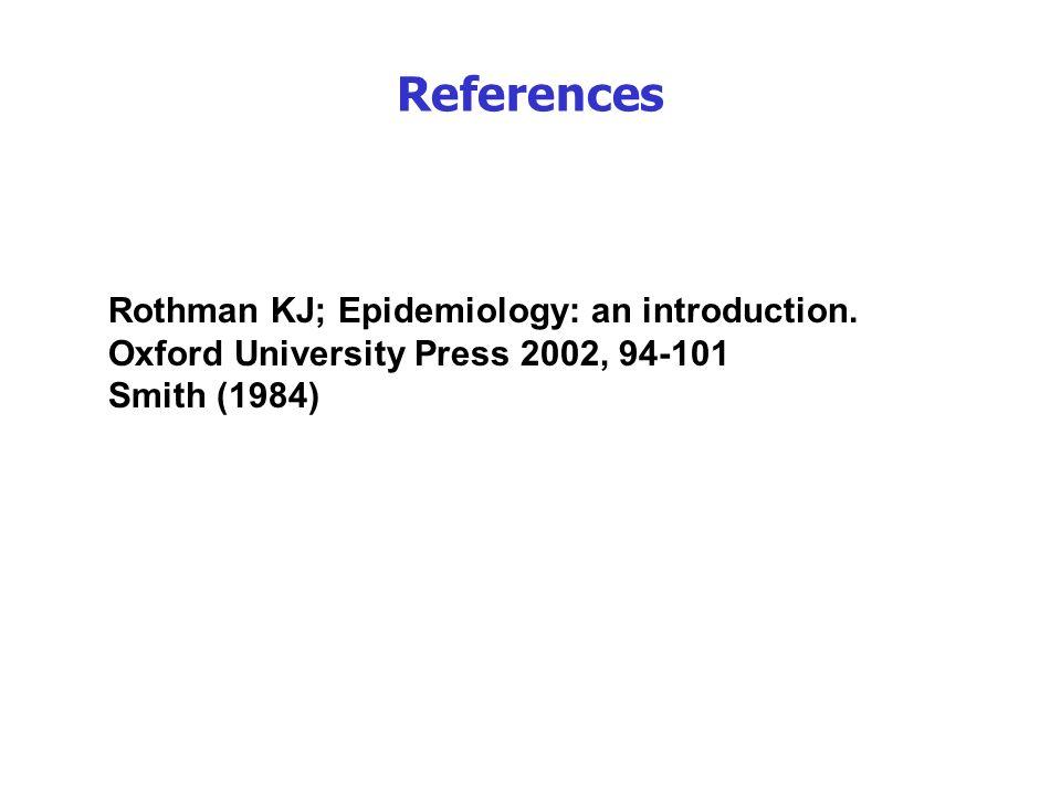 Rothman KJ; Epidemiology: an introduction. Oxford University Press 2002, 94-101 Smith (1984) References