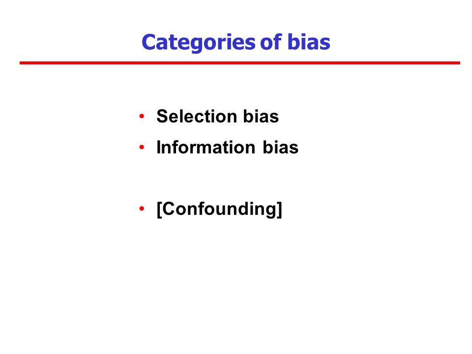 Categories of bias Selection bias Information bias [Confounding]