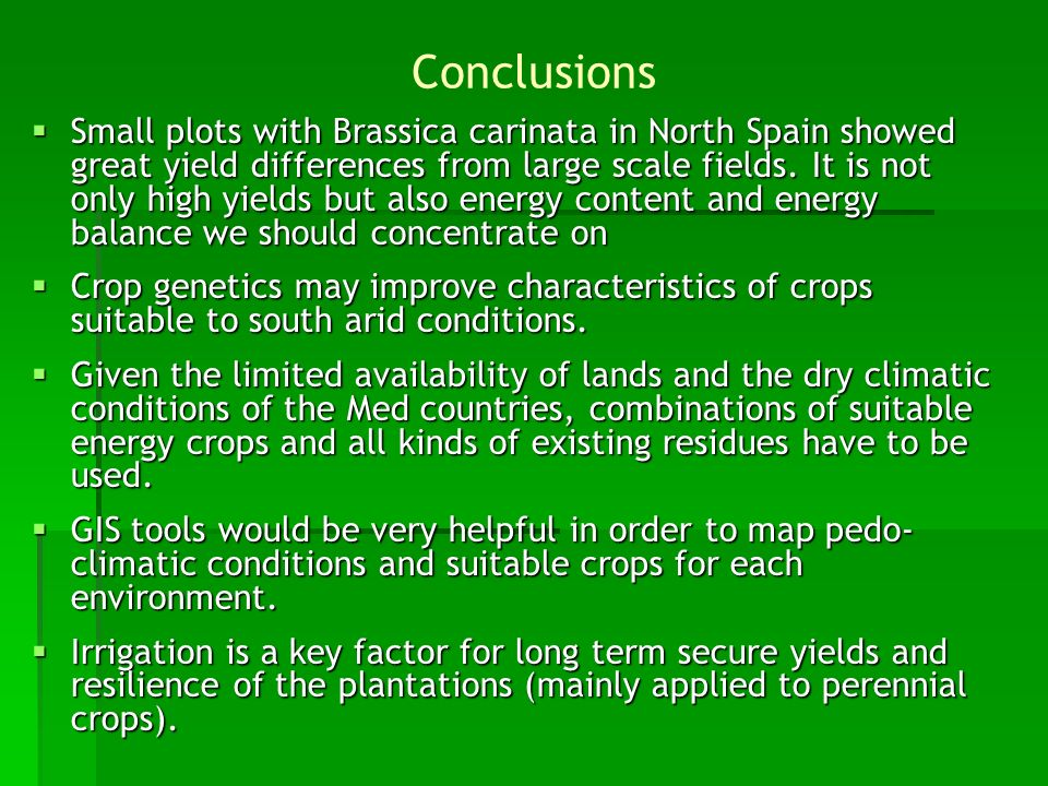 Small plots with Brassica carinata in North Spain showed great yield differences from large scale fields. It is not only high yields but also energy c