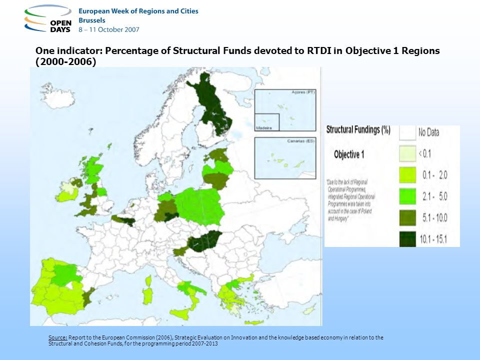 Source: Report to the European Commission (2006), Strategic Evaluation on Innovation and the knowledge based economy in relation to the Structural and Cohesion Funds, for the programming period 2007-2013 One indicator: Percentage of Structural Funds devoted to RTDI in Objective 1 Regions (2000-2006)