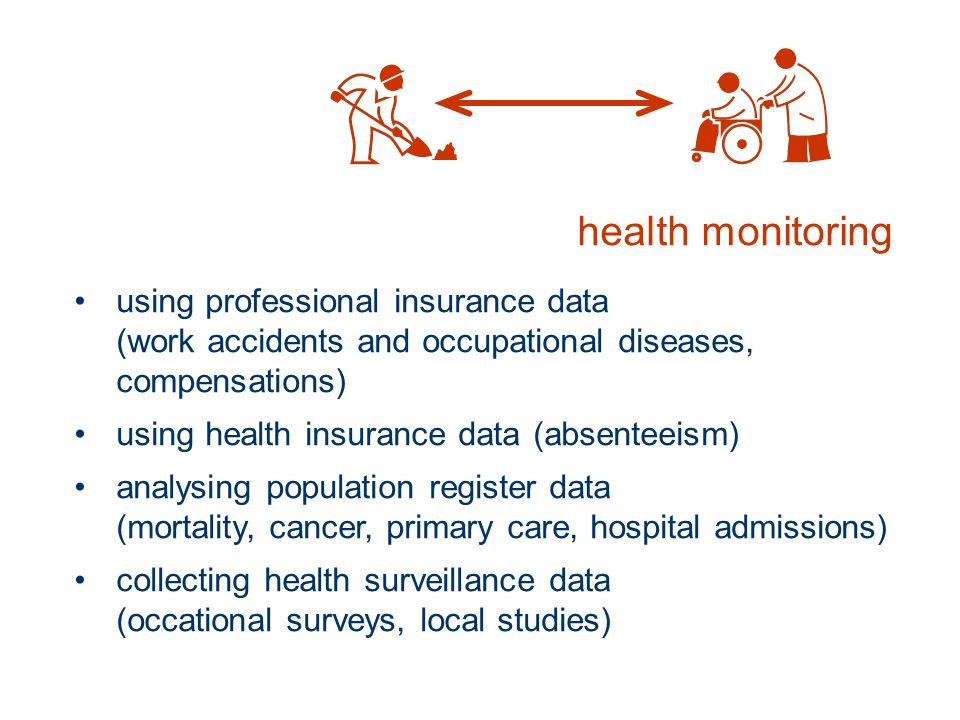 health monitoring using professional insurance data (work accidents and occupational diseases, compensations) using health insurance data (absenteeism) analysing population register data (mortality, cancer, primary care, hospital admissions) collecting health surveillance data (occational surveys, local studies)