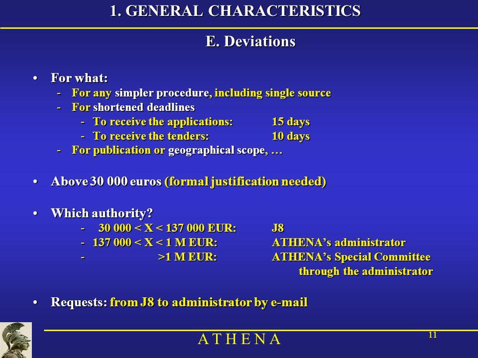 A T H E N A 11 1. GENERAL CHARACTERISTICS E.