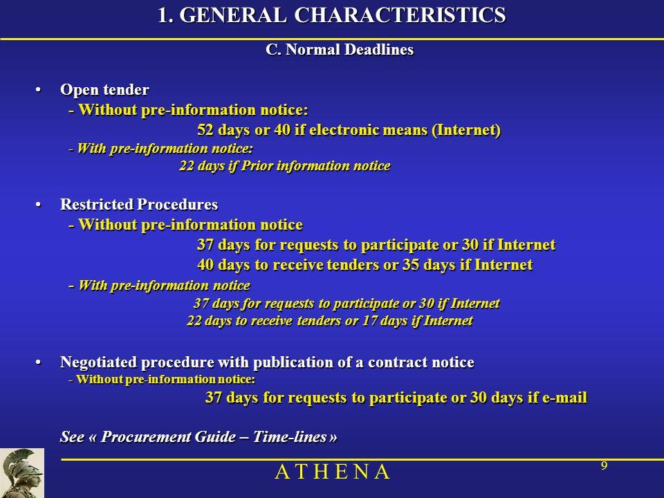 A T H E N A 9 1. GENERAL CHARACTERISTICS C.