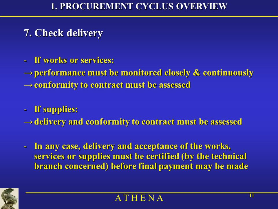 A T H E N A 11 7. Check delivery -If works or services: performance must be monitored closely & continuouslyperformance must be monitored closely & co