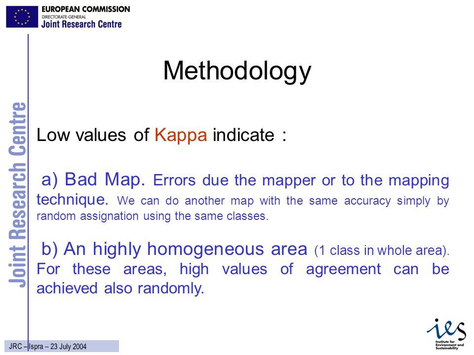 15 JRC – Ispra – 23 July 2004 Methodology Low values of Kappa indicate : a) Bad Map.