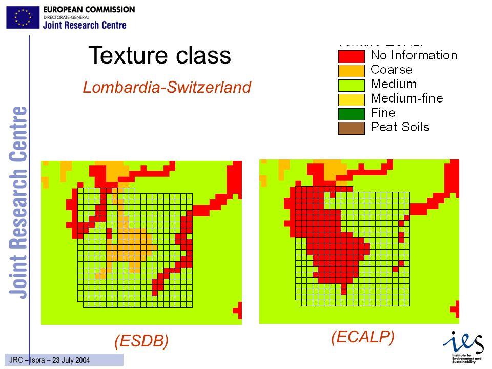 19 JRC – Ispra – 23 July 2004 Texture class Lombardia-Switzerland (ECALP) (ESDB)